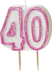40. Geburtstag Glitzer Kerzen Pick Pink