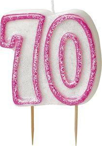 70. Geburtstag Glitzer Kerzen Pick Pink