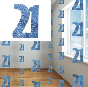 21. Geburtstag Glitzer Girlanden Blau