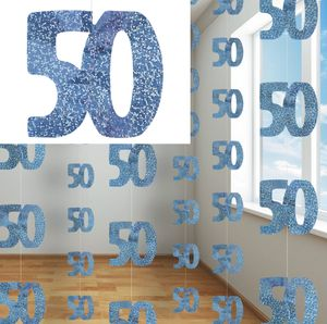 50. Geburtstag Glitzer Girlanden Blau