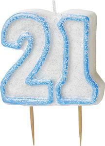 21. Geburtstag Glitzer Kerzen Pick Blau