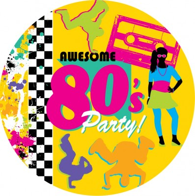 80er jahre motto party teller - 80er party dekoration ...
