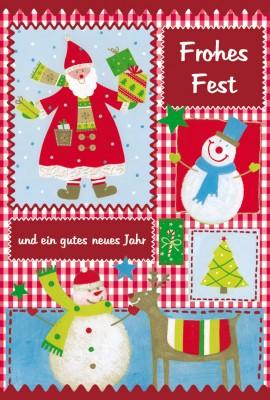 weihnachtskarte weihnachtsmann und schneemann. Black Bedroom Furniture Sets. Home Design Ideas