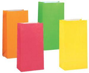 10 Papiertüten Neon Bunt