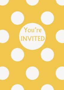 8 Einladungskarten Sonnenblumen Gelbe Punkte