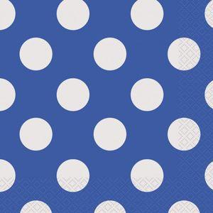 16 kleine Servietten blaue Punkte
