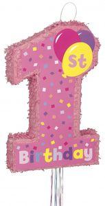 Erster Geburtstag Zugband Pinata Rosa