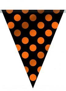 Pünktchen Wimpelgirlande Orange Schwarz