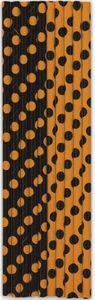 10 Papier Trinkhalme orange schwarze Punkte – Bild 1