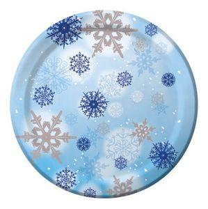 8 große Teller Glitzer Schneeflocken 26 cm