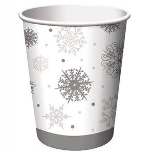8 Papp Becher Schneeflocken