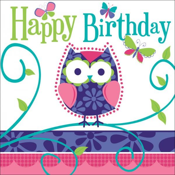 16 Geburtstags Servietten Kleine Eule Kinderparty 1 Geburtstag