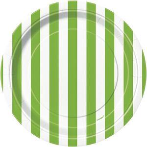 8 kleine Teller hellgrüne Streifen
