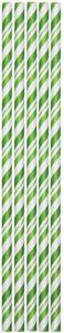 24 Papier Trinkhalme Grün Weiß gestreift