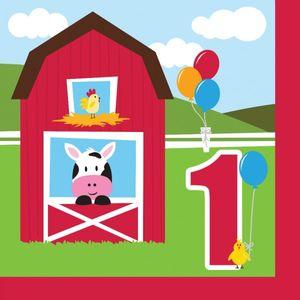 16 Servietten Erster Geburtstag Bauernhof Freunde – Bild 1