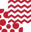16 Servietten Zickzack Punkte Rot