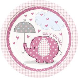 8 Teller Baby Elefant rosa