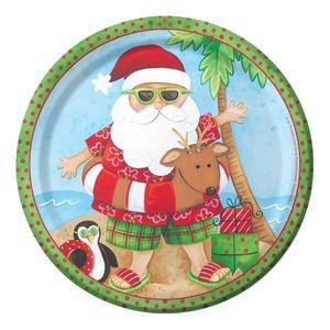 8 Weihnachts Teller Relaxing Santa