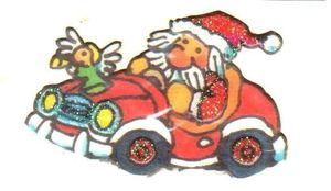 Weihnachtsmann im Auto Mini Sticker - ItSticks