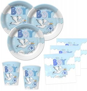 32 Teile Baby Shower Deko Set Storch in Blau 8 Personen – Bild 1