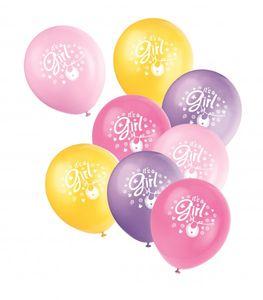 8 Luftballons Baby Wäscheleine rosa