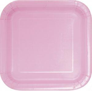 14 quadratische Papp Teller Baby Rosa – Bild 1