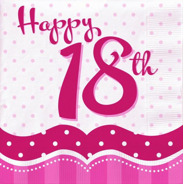 18 servietten perfectly pink zum 18 geburtstag. Black Bedroom Furniture Sets. Home Design Ideas