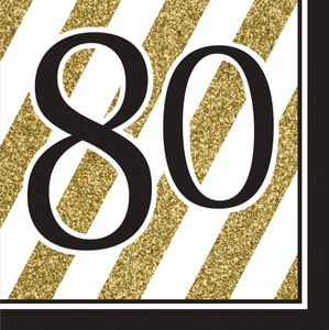 16 Servietten 80. Geburtstag Black and Gold