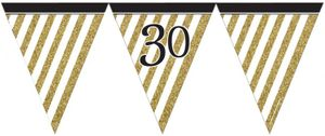 Wimpelkette 30. Geburtstag Black and Gold