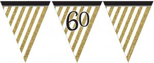 Wimpelkette 60. Geburtstag Black and Gold