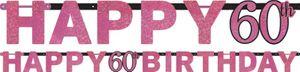 Geburtstags Girlande Glitzerndes Pink und Schwarz 60. Geburtstag