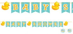 Baby Shower Entchen Girlande am Satinband – Bild 1