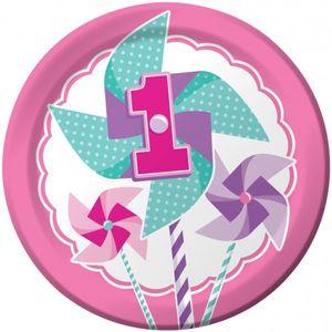 8 Teller 1. Geburtstag Windrad Pink – Bild 1