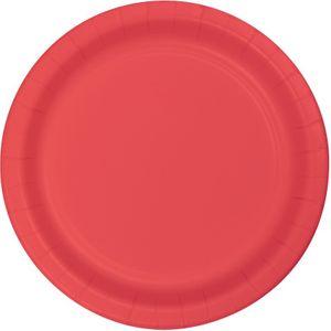 24 große Papp Teller Korallen Rot 26 cm Durchmesser