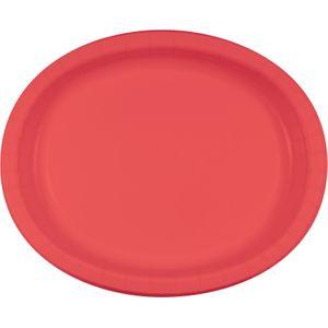 8 ovale Papp Teller Korallen Rot – Bild 1