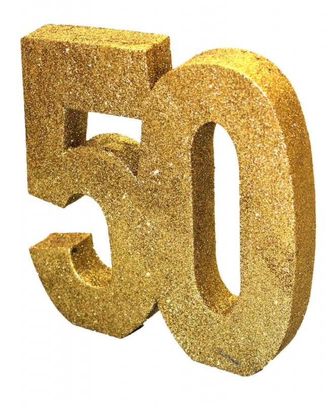 deko glitzer zahl 50 geburtstag oder jubil um in gold. Black Bedroom Furniture Sets. Home Design Ideas