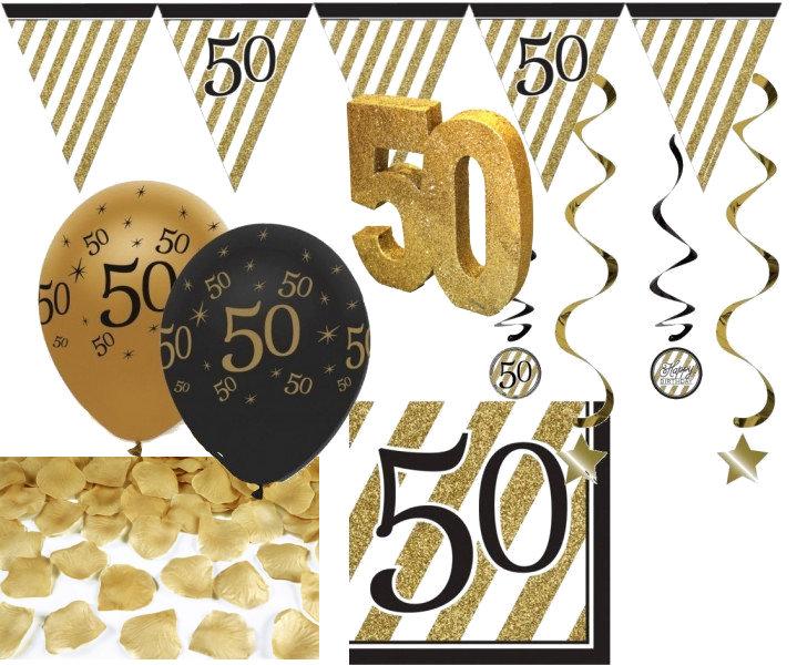 Paket 30 Teile Set Zum 50 Geburtstag Jubiläum Oder Goldene Hochzeit Party Deko In Schwarz Gold Anniversary House