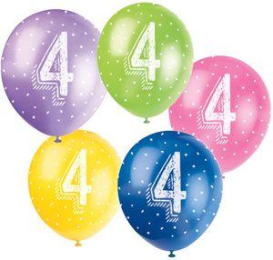 20 bunte Luftballons zum 4. Geburtstag