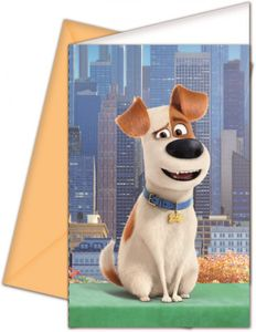 6 Hunde Einladungskarten The secret life of pets