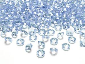 30g kleine Deko Plastik Diamanten hellblau - 12 mm Durchmesser - etwa 100 Stk.