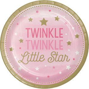 8 Papp Teller blinke kleiner Stern in Rosa