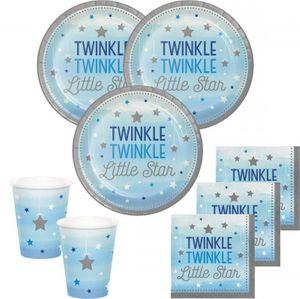 48 Teile Blinke Kleiner Stern Blau Party Deko Set 16 Personen für die Baby Shower oder Kindergeburtstag – Bild 1