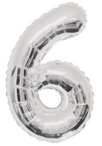 XXL Folien Ballon in Form der Zahl 6 Silber