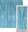 Glitzer Fransen Party Vorhang in Hellblau Metallic - Fotobox 2,4 Meter lang