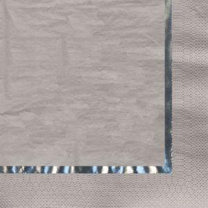 16 edle Servietten mit Glanzband Silber