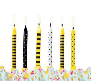 6 Kuchen Kerzen Schwarz und Gelb Mix