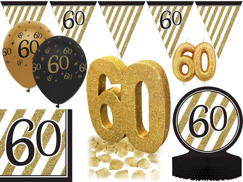 27 Tlg Party Deko Set Zum 60 Geburtstag Oder Jubilaum In Schwarz