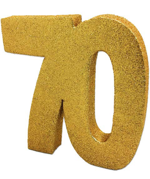 Deko Glitzer Zahl 70 Geburtstag Gold