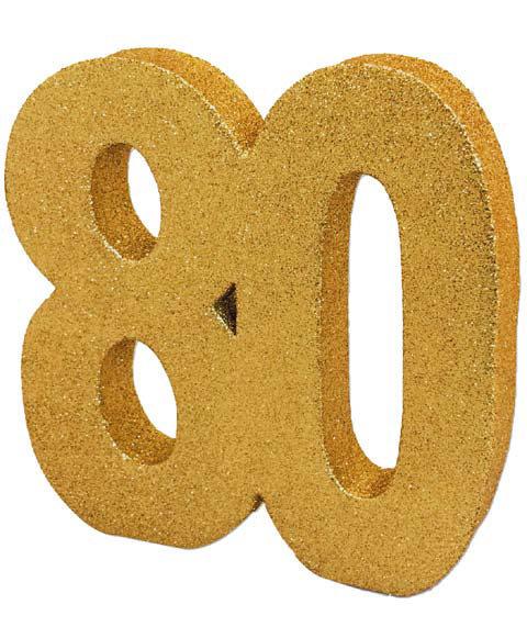 Deko Glitzer Zahl 80 Geburtstag Gold