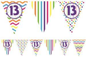 bunte Wimpel Girlande zum 13. Geburtstag